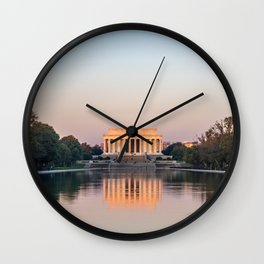 Lincoln Monument and Reflecting Pool at Sunrise Wall Clock