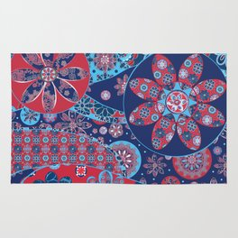 Dhalia Red and Blue Rug