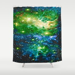 Fox Fur Nebula Teal Green Shower Curtain