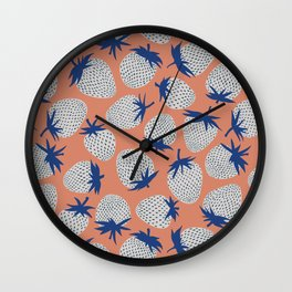 Inky Strawberries Wall Clock