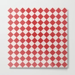 Red and White Checkered Diamond Pattern Metal Print