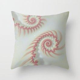 Candy Cane Swirl Pastel - Fractal Art Throw Pillow