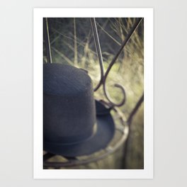 'His' of His and Her Hats in the Garden Fine Art Colored Canvas Wall Art Art Print