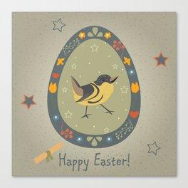 Festive Easter Egg with Cute Bird Canvas Print
