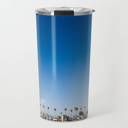 Beach front homes along the sand at Belmont Shore, CA Travel Mug