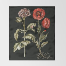Carnation & Poppy on Charcoal Throw Blanket