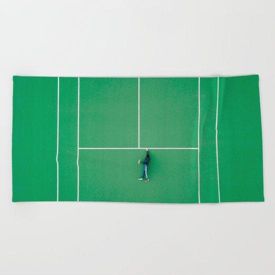 Tennis court green Beach Towel