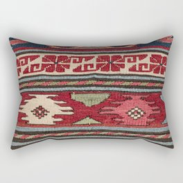 Yellow Red Star Fire Sumakh 19th Century Authentic Colorful Aztec Vibes Vintage Patterns Rectangular Pillow