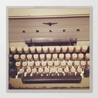 typewriter Canvas Prints featuring typewriter by Bunny Noir