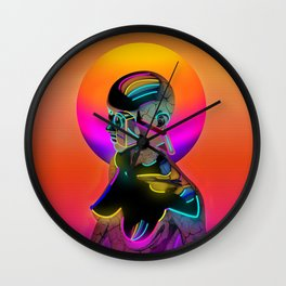 Android with a movie camera Wall Clock