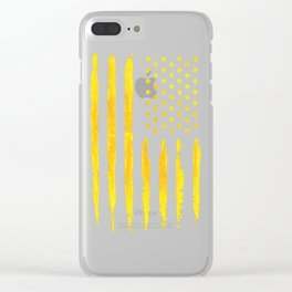 Gold grunge american flag Clear iPhone Case