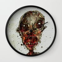 in the flesh Wall Clocks featuring Hungry For Human Flesh by Grant Hunter
