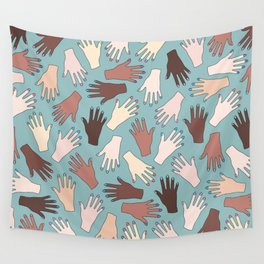 Nail Expert Studio - Colorful Manicured Hands Pattern Wall Tapestry