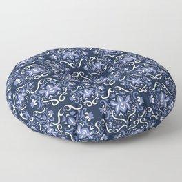 Vintage Scandinavian Flower Pattern Blue Floral Floor Pillow