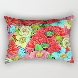 Poppy Floral Greenery Watercolor for SS17 Rectangular Pillow