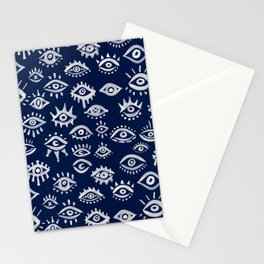 Mystic Eyes – White on Navy Stationery Cards