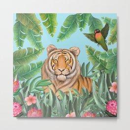 Tropical tiger jungle, tropical flowers Metal Print