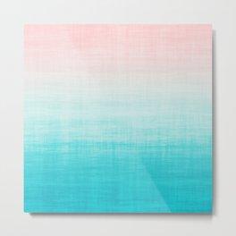 Grunge Pastel Millennial Pink Aqua Blue Teal Mint Linen Pattern Ombre Gradient Texture Metal Print
