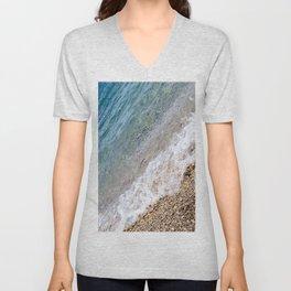 Diagonal Waves Rolling Pebbles on the Seacoast Unisex V-Neck