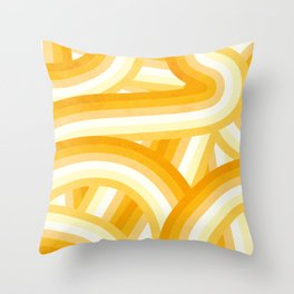 Mellow Yellow and Orange 70's Style Rainbow Stripes Throw Pillow