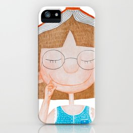 Smiling little cute girl with eyeglasses, and red book on her head. Watercolor illustration. iPhone Case