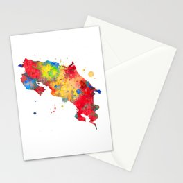 Costa Rica Map Watercolor Painting Stationery Cards