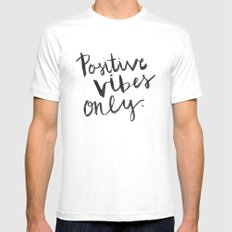 Positive Vibes Only White MEDIUM Mens Fitted Tee