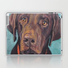 Chocolate lab LABRADOR RETRIEVER dog portrait painting by L.A.Shepard fine art Laptop & iPad Skin