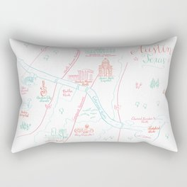 Austin, Texas Illustrated Calligraphy Map Rectangular Pillow