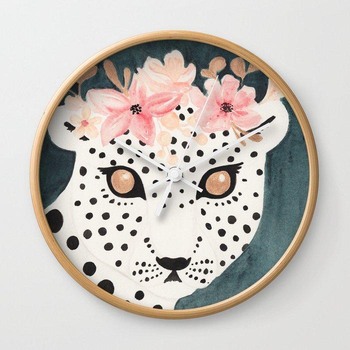 Flower Crown Leopard Wall Clock by creatingtaryn