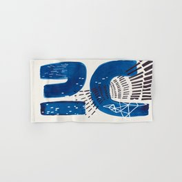 Fun Mid Century Modern Abstract Minimalist Vintage Navy Blue Brush Strokes Minimal Shapes Hand & Bath Towel