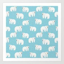 Polar Bear pattern cute animals print for kids room decor boys and girls nursery Art Print
