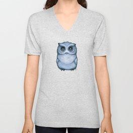 """The Little Owl"" by Amber Marine ~ (Blueberry Version) Graphite & Ink Illustration, (Copyright 2016) Unisex V-Neck"