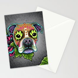Boxer in White Fawn - Day of the Dead Sugar Skull Dog Stationery Cards