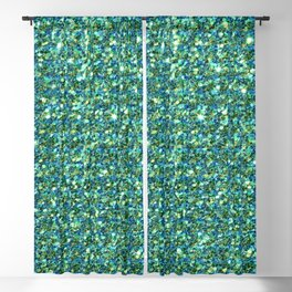 Emerald green faux glitter background Blackout Curtain