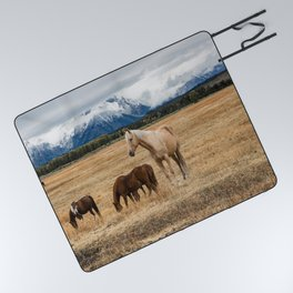 Mountain Horse - Western Style in the Grand Tetons Picnic Blanket