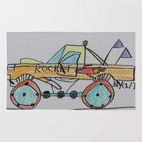 truck Area & Throw Rugs featuring Rocket Truck by Ryan van Gogh