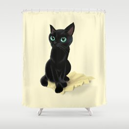 Black little kitty Shower Curtain