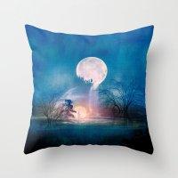 sun and moon Throw Pillows featuring Moon Above, Sun Below by Viviana Gonzalez