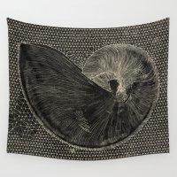 seashell Wall Tapestries featuring SEASHELL IN BLACK by Mary Szulc