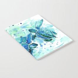 Turquoise Blue Sea Turtles in Ocean Notebook
