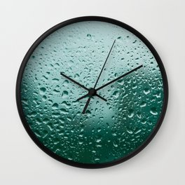 Abstract water drops on glass, rainy day Wall Clock