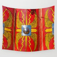 military Wall Tapestries featuring Roman Military Shield - Scutum by digital2real