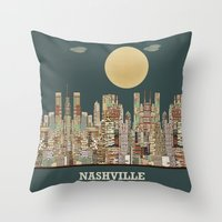 tennessee Throw Pillows featuring music city tennessee  by bri.buckley