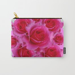 Purple Fuchsia Rose & Daisy  Flowers Art Design Abstract Carry-All Pouch