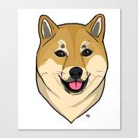 shiba Canvas Prints featuring Shiba Inu by Bleachydrew