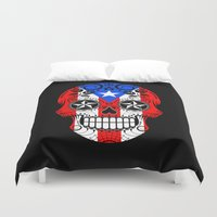 puerto rico Duvet Covers featuring Sugar Skull with Roses and Flag of Puerto Rico by Jeff Bartels