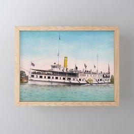 Steamboat New York - Thousand Islands - Circa 1902 Photochrom Framed Mini Art Print