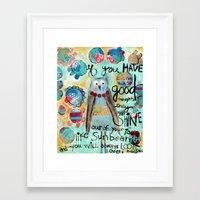 roald dahl Framed Art Prints featuring Whimsical owl print, Roald Dahl quote by sunshine girl designs