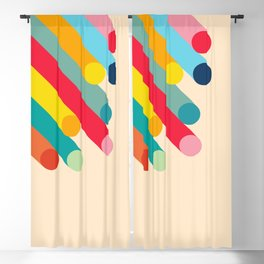 Retro Mid Century Beams   Bauhaus Geometric Pattern Blackout Curtain